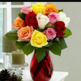 Rainbow  Roses 1 Dozen 40 cm roses in multi colors