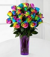 Rainbow Roses (6) (12) (24) Vase Arrangement