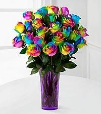 Rainbow Roses (6) (12) (24) Vase Arrangement