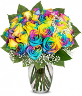 Rainbow Roses A Dozen Roses in Vase
