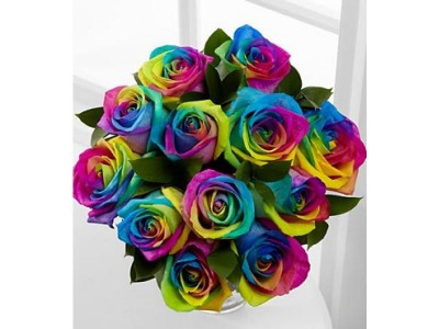 68b0f2ab6406 Rainbow Roses Arrangement in Wilton, NH - WORKS OF HEART FLOWERS