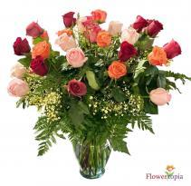 Rainbow Roses Bouquet Mix Roses Arrangement