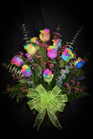 Rainbow Roses  Dozen Arrangement in Athens, AL | ATHENS FLORIST & GIFTS, INC.