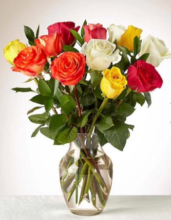 Rainbow Roses Dozen mixed color roses
