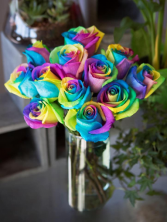 Rainbow Roses flower arrangement
