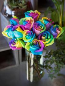 Rainbow Roses flower arrangement