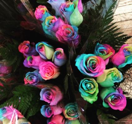 Rainbow Roses - half dozen Fresh Cut Bouquet