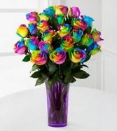 Rainbow Roses in Vase