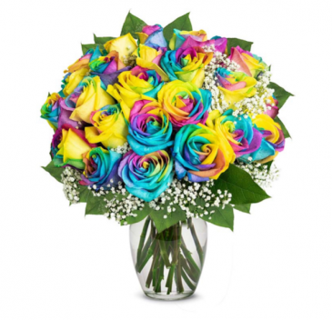 RAINBOW ROSES ON VASES