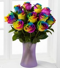 Rainbow Roses One dz in Vase Note: 3 DAY LEAD TIME