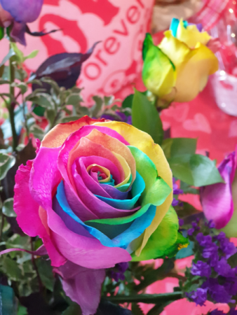 rainbow roses rainbow roses arrangement