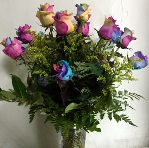 Rainbow Roses Vase