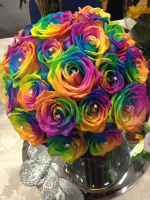 Rainbow Roses  You definitely will find the pot of gold at the end of this rainbow in Ozone Park, NY | Heavenly Florist