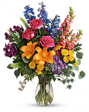 Rainbow Vase arrangement in Chatham, NJ | SUNNYWOODS FLORIST