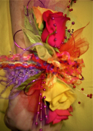 Rainbow  wrist corsage