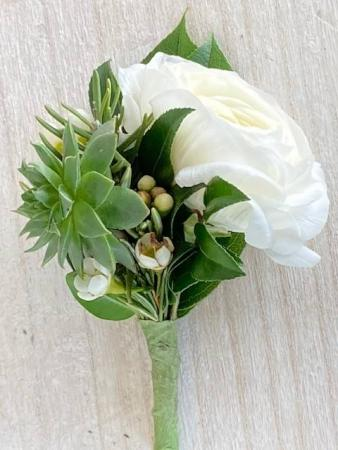 Ranunculus & Succulent Boutonniere