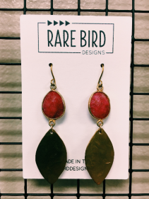 Rare Bird Earrings  Ruby Red
