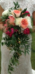 Raspberry, Peach, & Ivory Cascading Bridal Bouquet