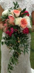 Raspberry, Peach, & Ivory Cascading Bridal Bouquet