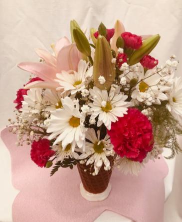 Raspberry Swirl Please Vased Arrangement