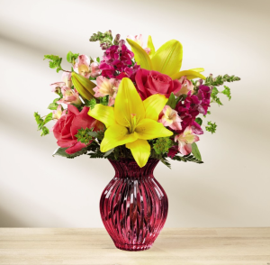 Raspberry Twist and Shout Vased Arrangment in Auburn, AL | AUBURN FLOWERS & GIFTS