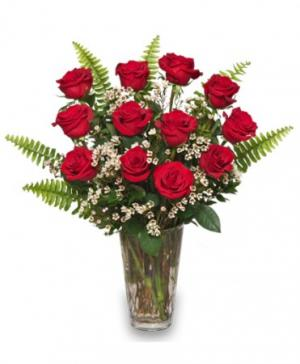 Ravishing Dozen Rose Arrangement in West Liberty, KY | THE PAISLEY POSEY - FLORAL & GIFT SHOP