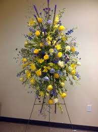 "RAY OF BLUE AND SUNSHINE SPRAY STANDING FUNERAL PC ON A 5'-6"" STAND"