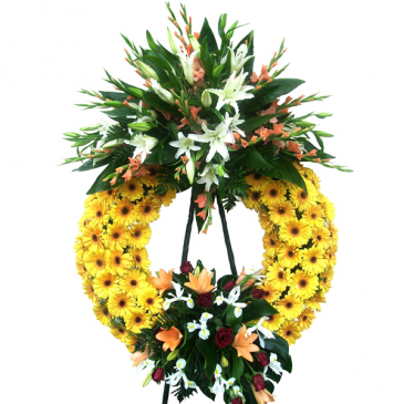 RAY OF SUN GERBER WREATH 2 CLUSTER STANDING SPRAY ON 6' STAND