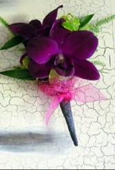 Razzed purple orchid boutonniere