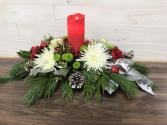 Real light candle centrepiece Christmas arrangement