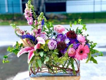 Rectangular Garden Vase Arrangement