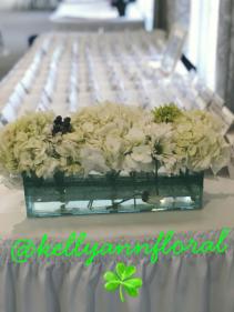 Rectangular Vase/Hydrangea Centerpiece centerpiece