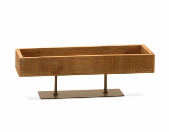 Rectangular Wood Tray on Metal  stand