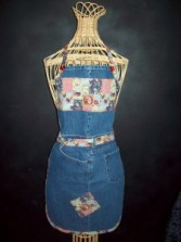 "Recycled Jean Apron ""Country Chickens"""