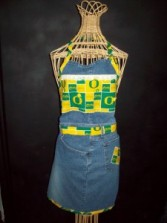 "Recycled Jean Apron ""University of Oregon"""