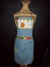 """Recycled Jean Apron """"Country canning time"""""""