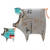 Recycled Metal Pigs Set of 2
