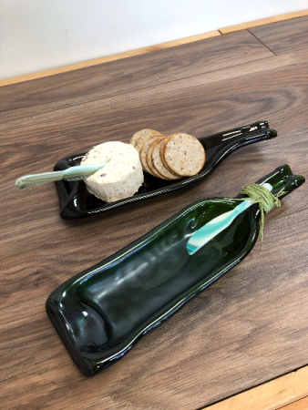Slumpled wine bottle cheese plate Handmade in newfoundland