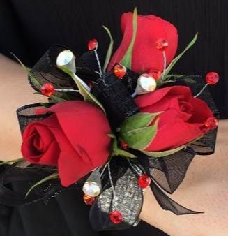RED AND BLACK CORSAGE ELEGANT MIXTURE OF FLOWERS