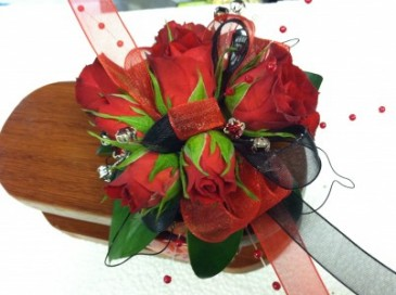 Red and Black Quinn  wrist corsage