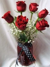 RED AND BLACK? RED MASON JAR WITH BLACK AND WHITE POLKA DOT RIBBON 6 Red Roses with baby's breath!