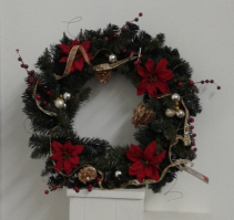 Red and gold Silk Wreath