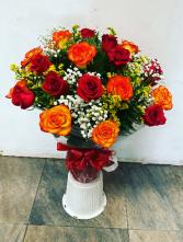 Red and orange roses 2 dozen roses