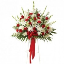 Red And White Basket on Stand