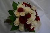Red and white bouquet  wedding