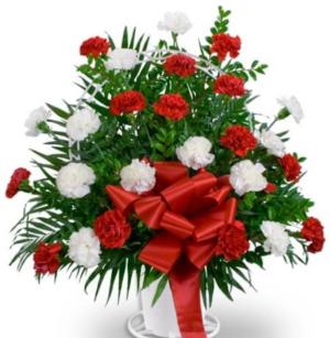 Basic Sympathy Flower Basket  Funeral Arrangement in Selma, NC | SELMA FLOWER SHOP