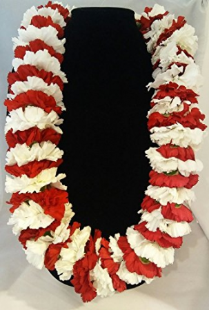 RED AND WHITE CARNATION LEI GRADUATION LEI