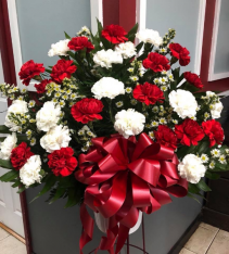 RED AND WHITE CARNATION TRIBUTE Funeral Basket