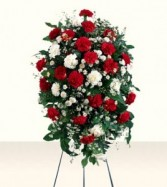 RED AND WHITE CARNATIONS ARRANGED With white monte casino as filler