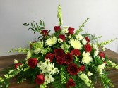 Red and White Casket Spray Casket Spray